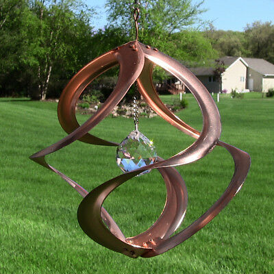 "11"" Mosaic Cosmix Wind Spinner: Copper, Swirl Shape, Centrally Hung Sun Catcher"