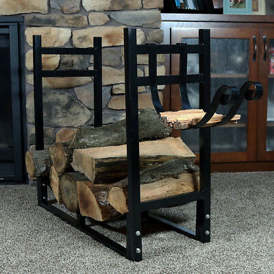 Firewood Log Rack Kindle Outdoor Heavy Duty Wood Storage Holder Black - New