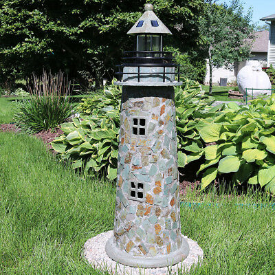 Sunnydaze Cobblestone Solar LED Lighthouse 35 Inch Tall