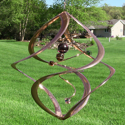 "17"" Spiral Planet Wind Spinner: Copper w/Glass Marble Accents, Kinetic, Hanging"