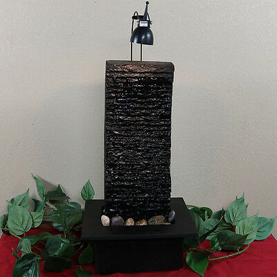 "NEW-Modern Crest 23"" Slate Tabletop Water w/LED Light Decor Fountain Feature"
