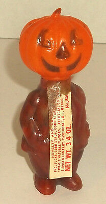 """vintage HALLOWEEN PUMPKIN HEAD CANDY CONTAINER clear plastic body 4"""" E ROSEN TAG"""