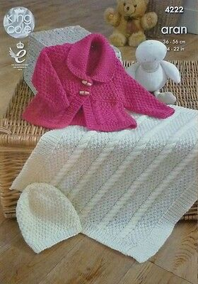 Baby KNITTING PATTERN Babies Cable Blanket Coat & Hat Aran King Cole 4222