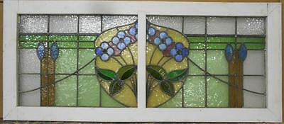"OLD ENGLISH LEADED STAINED GLASS WINDOW Stunning Floral 50"" x 21.75"""