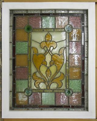 """OLD ENGLISH LEADED STAINED GLASS WINDOW Awesome Abstract Victorian 26.25"""" x 33"""""""