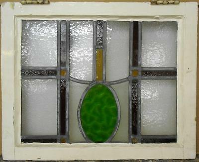 "MID SIZED OLD ENGLISH LEADED STAINED GLASS WINDOW Symetric Geo 21.75"" x 17.5"""