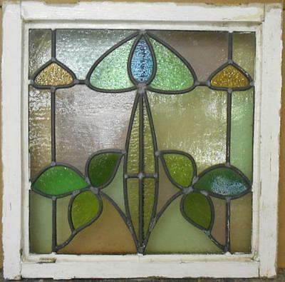 "EDWARDIAN ENGLISH LEADED STAINED GLASS WINDOW Floral Scene 20.25"" x 22"""