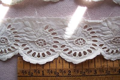 Vtg Antique Victorian Hand Embroidered Eyelet lace trim 2+ yards