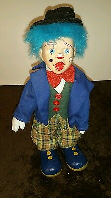 Creepy Clown Jester Hobo Doll w/ Hat Porcelain Face Hands Blue Hair Open Mouth