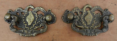 2 Cast Brass Antique Drawer Pulls - 3 5/8