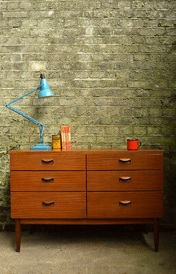 Vintage Mid Century Chest of 6 Drawers Sideboard Cabinet