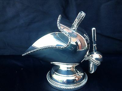 Antique Silver Plate Sugar Bowl Scuttle & Scoop - Hand Engraved