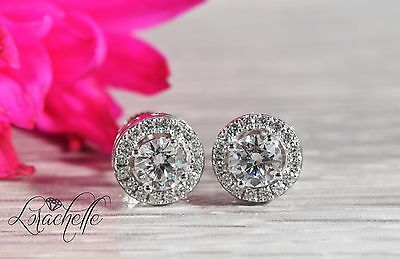 1.60 ct Brilliant Round Cut Solitaire Halo Earrings Real Solid 14K White Gold