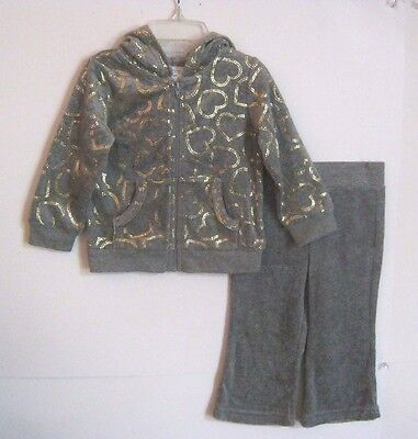 New Bleu Ice Girls 2 Pc Hooded Fleece Pant Outfit Sz 12M