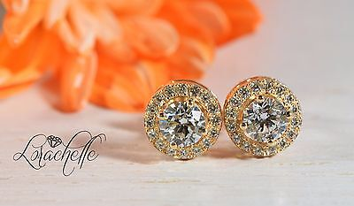 1.60 ct Brilliant Round Cut Solitaire Halo Earrings Real Solid 14K Yellow Gold