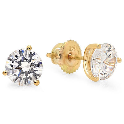 2.0 ct Brilliant Martini Earring Studs Screw Back Real Solid 14K Yellow Gold