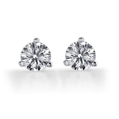 2.0 ct Brilliant Martini Earring Studs Screw BacksReal Solid 14K White Gold