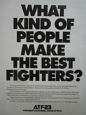 3//1991 PUB NORTHROP MCDONNELL DOUGLAS YF-23 F-23 STEALTH ATF FIGHTER ORIGINAL AD