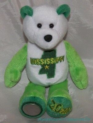 "Rare 2002 LIMITED TREASURES Plush 9"" Green MISSISSIPPI STATE QUARTER Bear w/Coin"