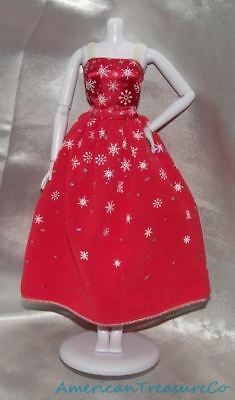 Barbie Fashions Classic Red Glitter Snowflake Holiday Prom Party Strapless Dress