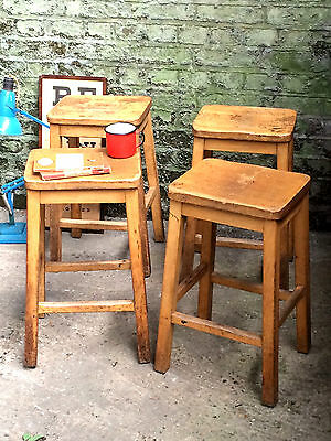 1 x Vintage Mid Century Wooden School Stool Chair Dining QTY Avail • £35.00