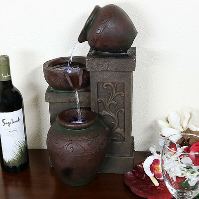NEW Indoor Electric Tablet Tiered Pottery Water Fountain with LED Light