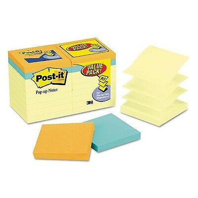 Post-it - Pop-up Notes Value Pack, 3 x 3, Canary/Capetown, 100/Pad -  18/Pack