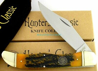 NAHC Hunter's Classic Folding Hunter Knife Jigged Bone Handle