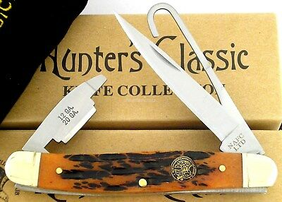 NAHC Hunter's Classic Bird Hook Folder Knife Jigged Bone Handle