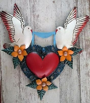 Punched Tin Heart with Doves & Flowers -  Mexican Folk Art, Mexican Heart #2