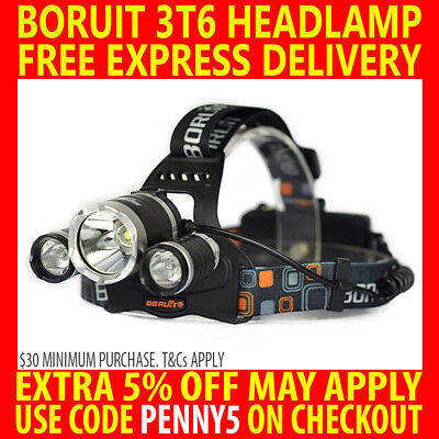 New Rechargeable Boruit Cree 3T6 13000Lm T6 Xml Led Headlamp Outdoor Torch Lamp