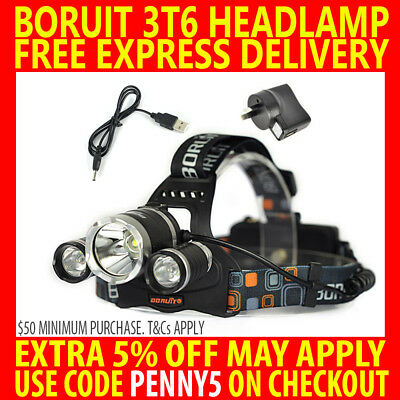 New Rechargeable Boruit Cree 3T6 13000Lm Lumens T6 Xml Led Headlamp Torch Lamp