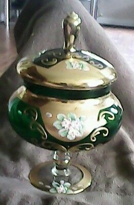 Vintage Seyei victorian glass gilt gold layered enamled flowers covered dish