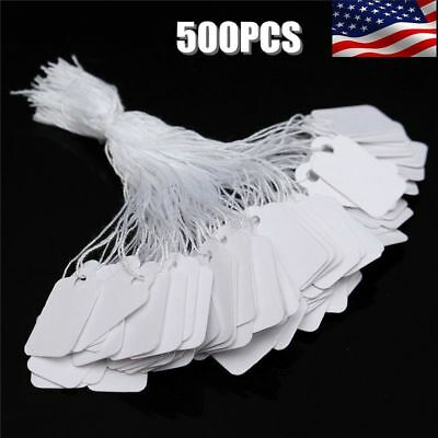 500X White Strung String Gift Jewellery Retail Price Tags Tie On Labels 24x14mm