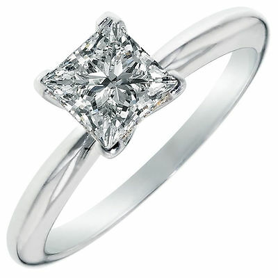 3.0 ct Princess Cut Solitaire Engagement Ring in Solid 14k White Gold