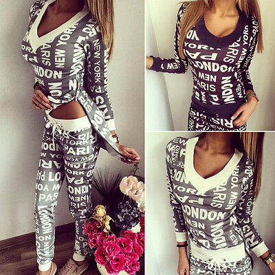 HOT 2016 Women 2Pcs Tracksuit Hoodies Sweatshirt Pants Sets Sport Wear Suit