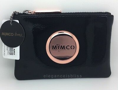 Authentic Mimco Small MIM Pouch • Black & Rose Gold • RRP $69.95 • BNWT +Dustbag