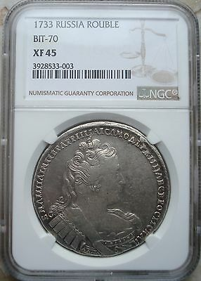 Silber Russland 1 Rubel Rouble 1733 Anna Ioanovna NGC XF45 Bitkin-70 Fehlprägung