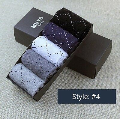New Fashion 5 Pairs Men's Socks Cotton Blend Casual Style Business Socks