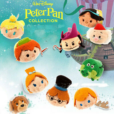 5 Styles Disney TSUM TSUM Peter Pan Captain Hook Mini Plush Toys Doll With Chain