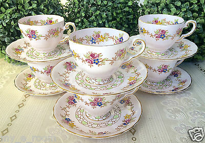 Tuscan Baby Pink, Green & Floral Set of 6 Coffee Cups & Saucers Duos Hight Tea