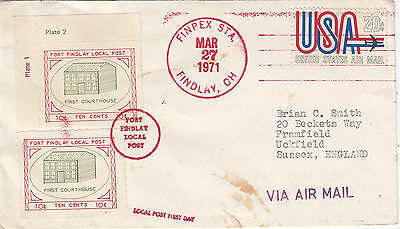 U.S.A. LOCAL POST :FORT FINDLAY LOCAL POST 1971 10c x 2  on  cover