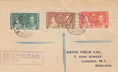 TRINIDAD & TOBAGO :1937 Coronation set on registered First Day cover toUK