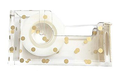 Gold Polka Dot Acrylic Tape Dispenser 5 x 3 x 1.5 inches - Chic, Modern Desk and