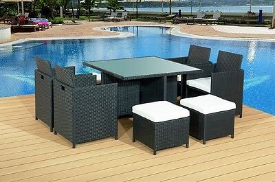 9pc PIECE GARDEN RATTAN CUBE DINING SET 8PPL - 3 COLOURS - FREE P&P