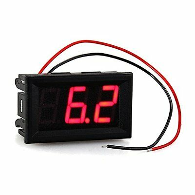 Mini Panelmeter Voltage Voltmeter DC 7 - 120V 20mA Red Two Cables CT