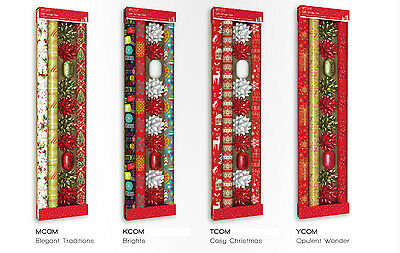6m Christmas Wrapping Paper Roll Traditional Bows Ribbons 3 x 2m Xmas Giftwrap