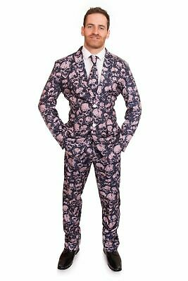 Skull Costume Halloween Stag Suit Stand Out Fancy Dress Mens 3 Piece Outfit New
