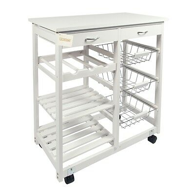 Mdf Top Double Kitchen Islands Trolley Storage Cart W/Drawer,Shelves & Wine St.