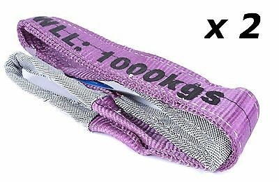 (2 Pack) 1T x 2 Metre Flat Lifting Slings Test Certificate 100% Polyester 1000Kg